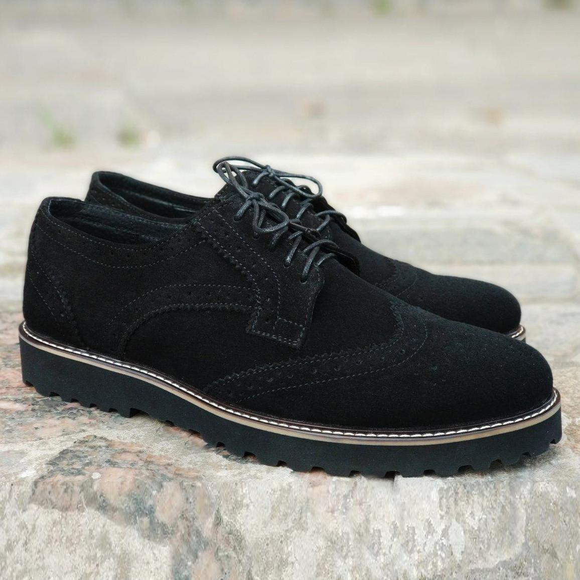 Туфлі броги чоловічі чорні замшеві Онікс (Onyx) від бренду Legessy розмір 40, 41, 42, 43, 44, 45