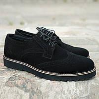 Туфлі броги чоловічі чорні замшеві Онікс (Onyx) від бренду Legessy розмір 40, 41, 42, 43, 44, 45, фото 1