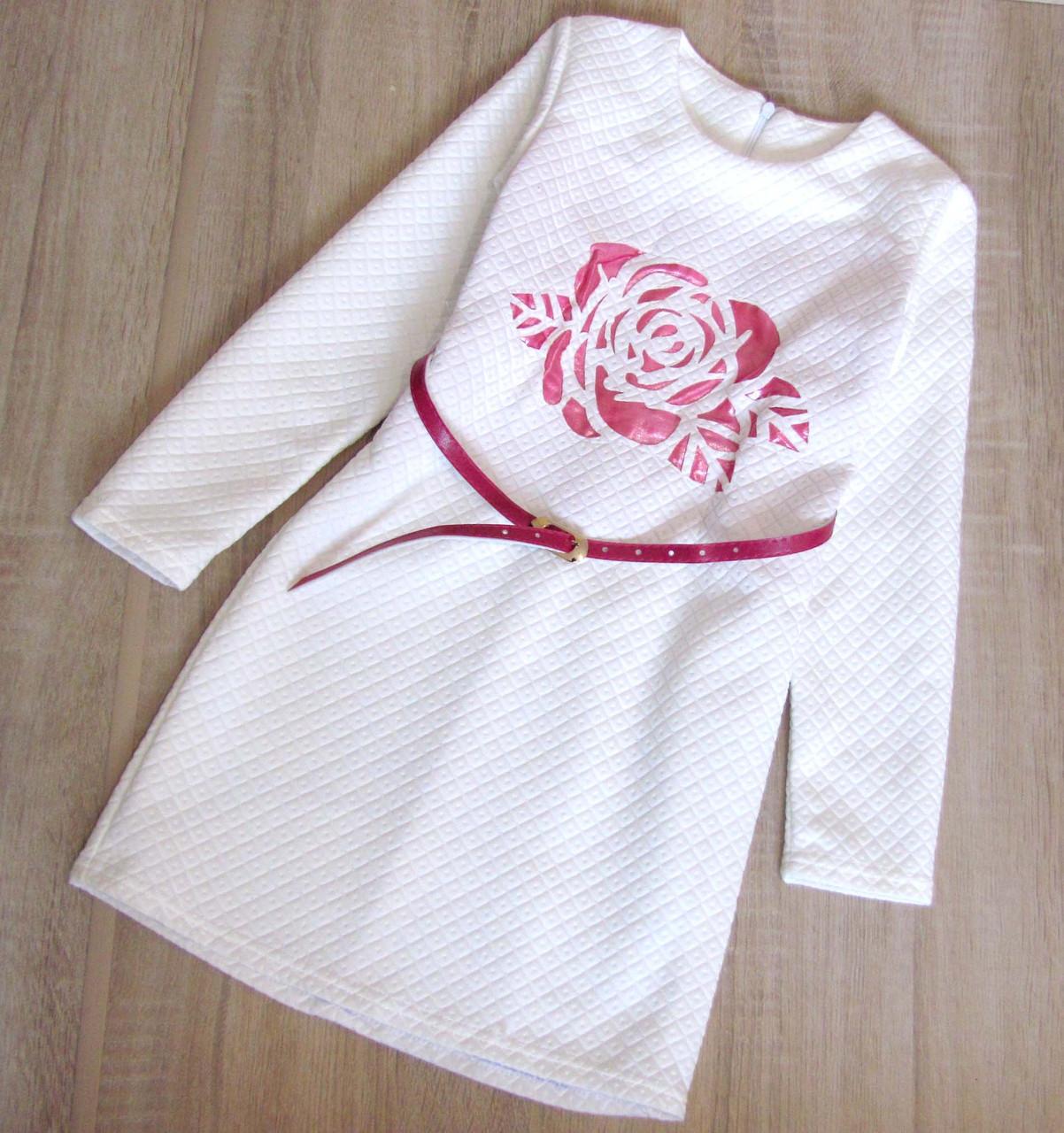 Детское нарядное платье р.128-152 Роза белое, фото 1
