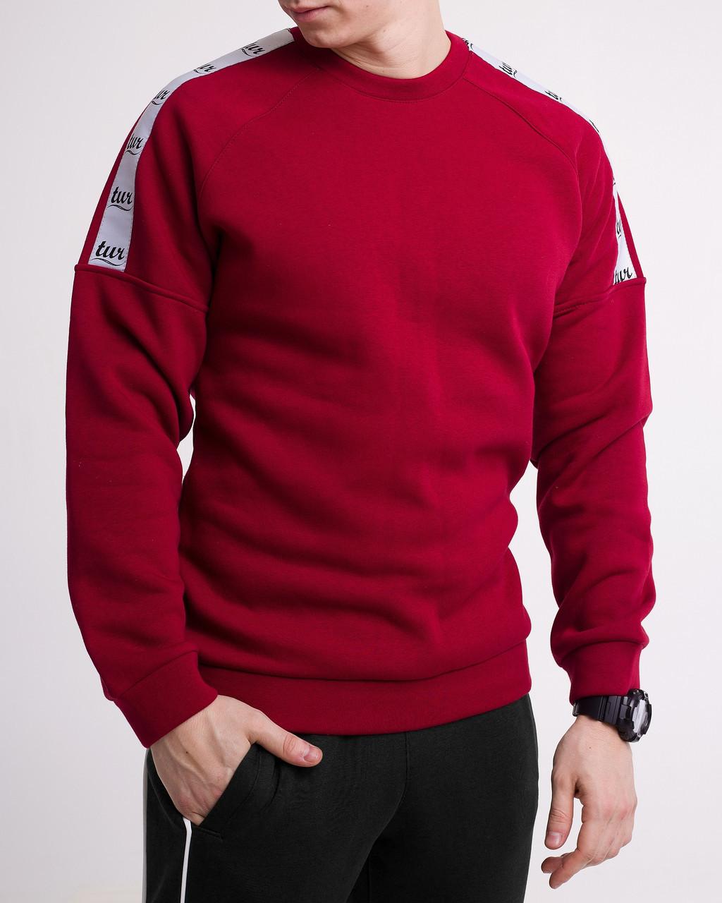 Зимний свитшот реглан мужской бордовый с лампасом от бренда ТУР Сайбот (Saibot ) размер S, M, L, XL