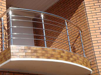 Перила нержавеющие на балкон круглые, фото 2
