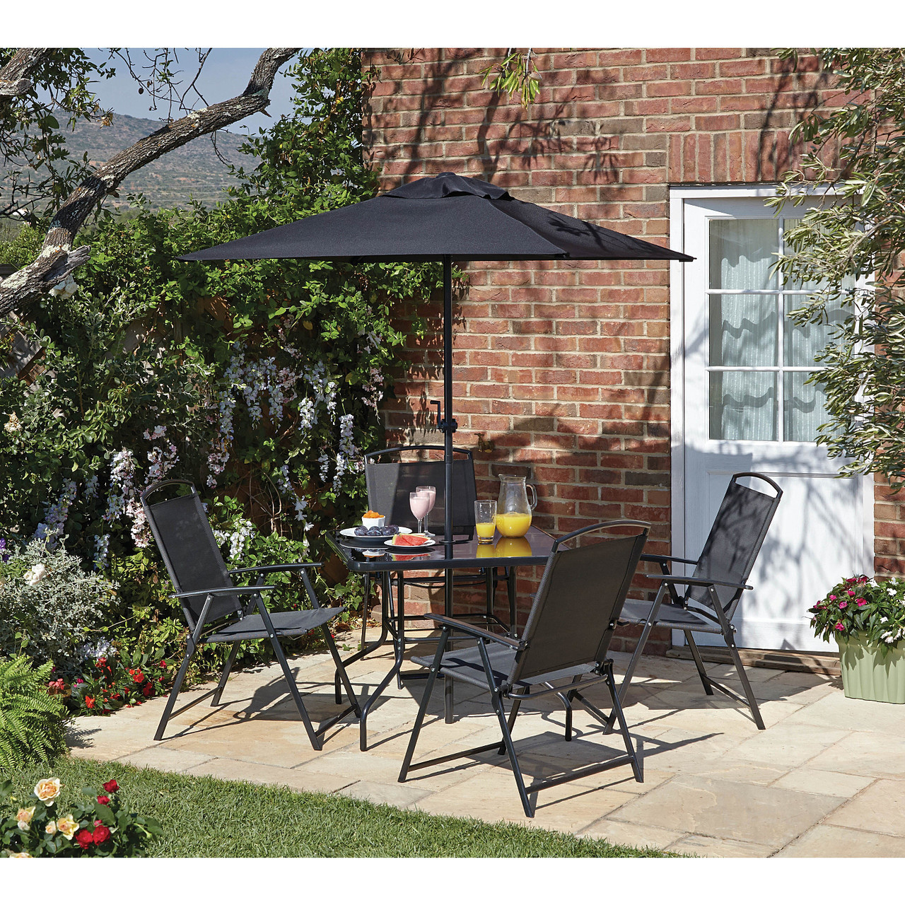 Набор садовой мебели George Home Miami 6 Piece Patio Set - Black & Charcoal
