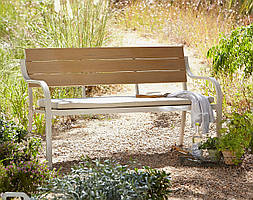 Скамейка для сада Haversham 2 Seat Classic Garden Bench in Taupe and Dark Linen