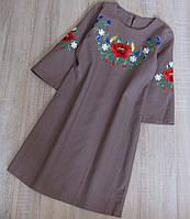 Детское платье вышиванка лён р. 134, фото 1
