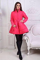 Стильное яркое розовое пальто-колокольчик в расцветках