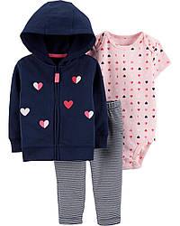 Хлопковый комплект с кардиганом Сердечки Картерс Carter's 3-Piece Little Jacket Set