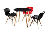 Обеденный круглый стол DT-9017 NOLAN III черный на буковых ножках, D800