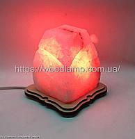Соляной светильник Прямоугольник резной маленький красный