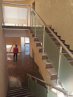 Алюминиевые перила на лестницу круглые со стеклом