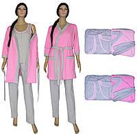 Снова в наличии топ продаж - женские пижамы с брюками и теплым халатом - Mindal Soft Grey&Pink ТМ УКРТРИКОТАЖ!
