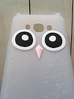 Объемный 3D силиконовый чехол с блестками для Samsung Galaxy J5 J500 Белая сова