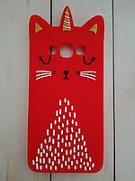 Объемный 3D силиконовый чехол для Samsung Galaxy J5 J500 Красный кот единорог