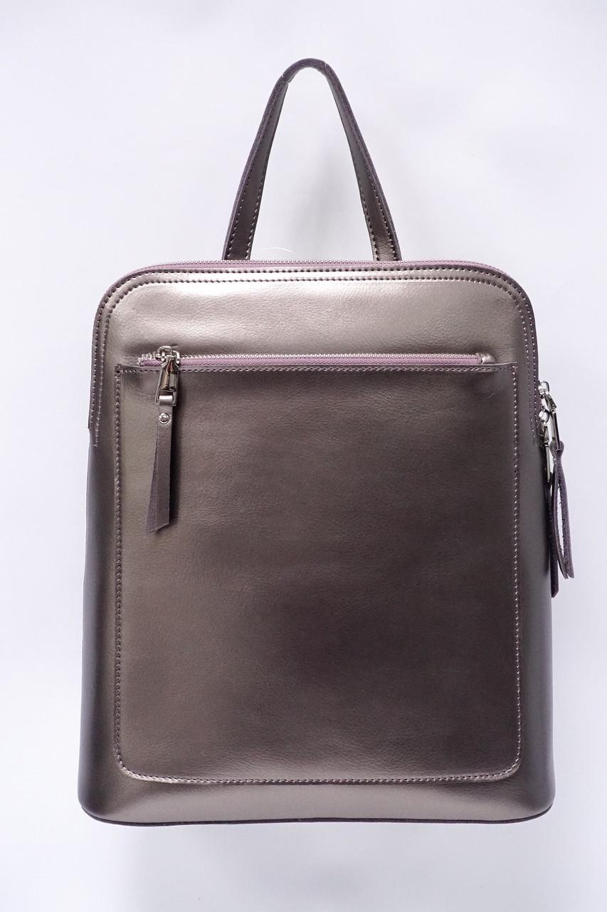 Кожаный рюкзак-сумка Galanty 10373 silver