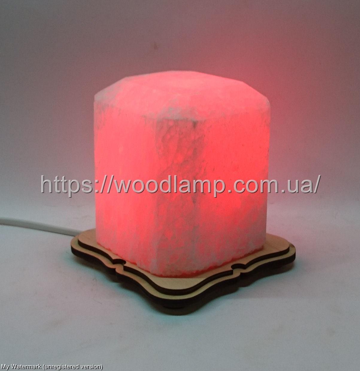 Соляной светильник  Восьмигранник маленький красный