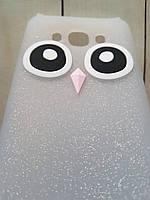 Объемный 3D силиконовый чехол с блестками для Samsung J2 Prime Galaxy G532f Белая сова