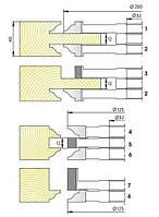 Комплект фрез для изготовления арочных дверей с остеклением М-014 (7фр.)