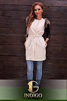 Стильное пальто-жилетка с натуральным мехом енота 725
