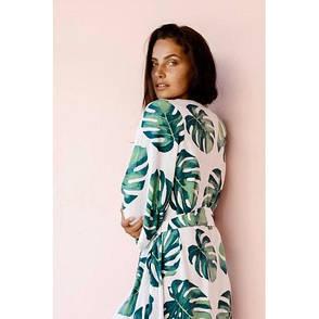 Накидка пляжная длинная белая с листьями Пляжный длинный коттоновый халат с поясом бохо-кимоно 146-48, фото 2