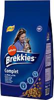 Сухой корм для кошек Brekkies Cat Complet 15 кг. полноценный рацион для взрослых кошек с рыбой и курицей