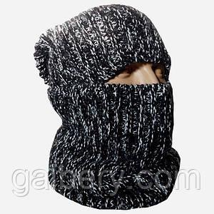 Зимняя шапка бини и шарф - бафф ручной работы