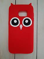 Объемный 3D силиконовый чехол для Samsung G930F Galaxy S7 Красная сова