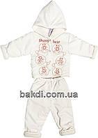 Детский демисезонный костюм рост 80 (9 мес.-1 год) утеплённый двойка с капюшоном весна/осень молочный на мальчика/девочку для новорожденных ТН-122