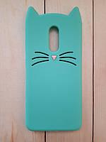 Объемный 3D силиконовый чехол для Xiaomi Redmi 5 Мятный усатый кот