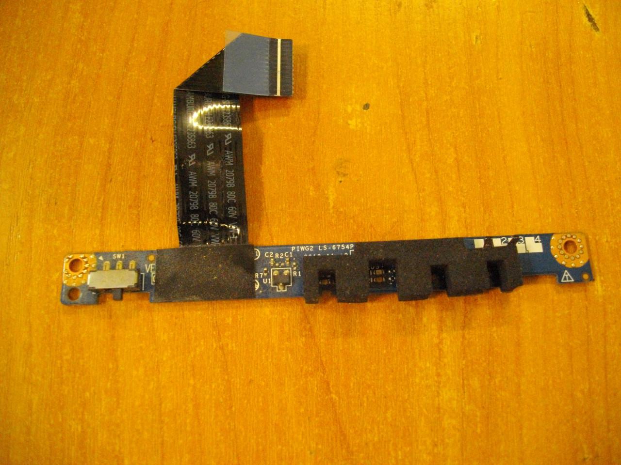 Плата с индикаторами и переключателем Lenovo G570 G575 LS-6754P БУ