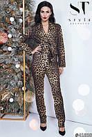 Ультрамодный яркий брючный костюм в леопардовый принт размеры S-XL, фото 1