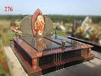 Двойной памятник под будущее захоронение из зеленого и красного гранита, фото 1