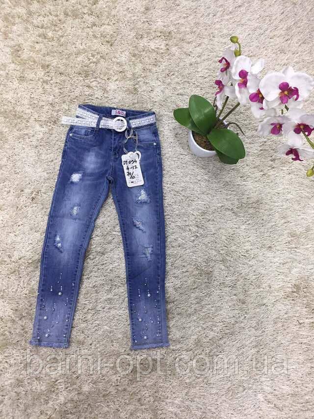 Джинсовые брюки на девочку оптом, S&D, 4-12 рр.