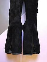 Ботфорты замшевые на высоком каблуке черные молния до верха на завязках Код 1963, фото 2