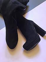Ботфорты замшевые на высоком каблуке черные молния до верха на завязках Код 1963, фото 3