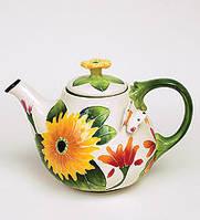 """Фарфоровый заварочный чайник """"Герберы"""" (Pavone) BS- 37"""