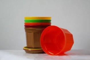 Цветочный горшок Октава с подставкой Микс объёмом 1,75 литров диаметром 17см