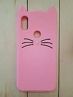 Объемный 3D силиконовый чехол для Xiaomi Redmi S2 Розовый Усатый кот