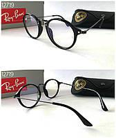 Круглые женские имиджевые очки компьютерные Ray Ban в черной оправе