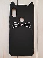 Объемный 3D силиконовый чехол Xiaomi Redmi S2 Черный усатый кот