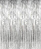 Шторка фольгированная для фотозоны, Цвет: Серебро. Размер: 2м*1м.