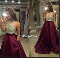 Вечернее атласное платье. Выпускное атласное платье. Платье из атласа.Платье вечернее стразами