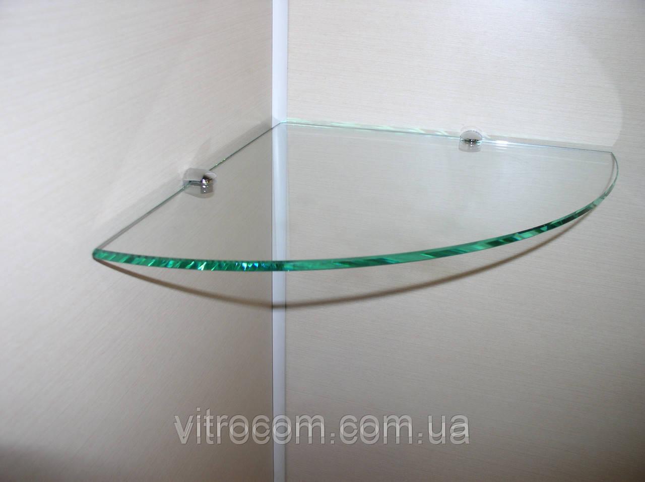Полка стеклянная угловая 4 мм прозрачная 30 х 30 см