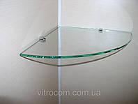 Полка стеклянная угловая 4 мм прозрачная 30 х 30 см, фото 1
