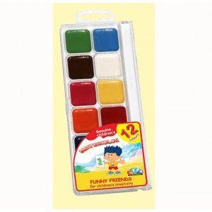 Краски акварель медовые ГАММА Забавные друзья 312084-1101, 12 цветов, б/кист.