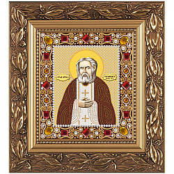 """Набор для вышивки иконы бисером и камнями 15х13см """"Св. Прп. Серафим Саровский"""""""
