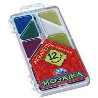 Краски акварель медовые ГАММА Мозаика 312054, 12 цветов, б/кист