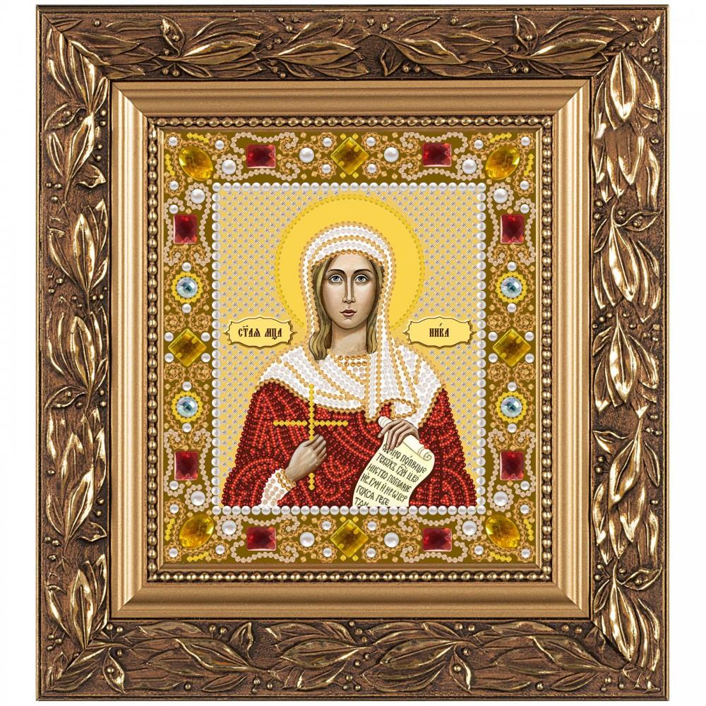 """Набор для вышивки иконы бисером и камнями 15х13см """"Св. Мц. Виктория (Ника) Коринфская"""""""