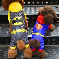 Оригинальный дождевик для собак SuperMan и Batman. Одежда для собак.