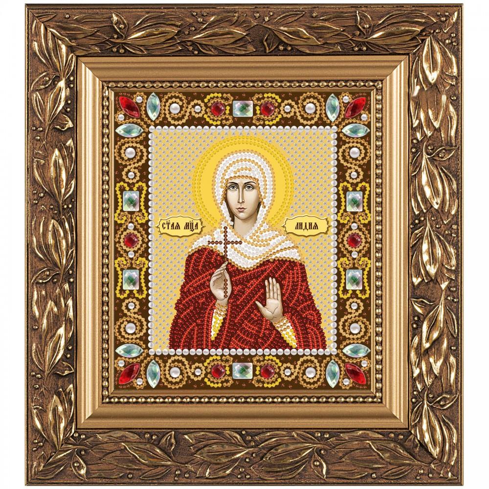 """Набор для вышивки иконы бисером и камнями 15х13см """"Св. Мц. Лидия Иллирийская"""""""