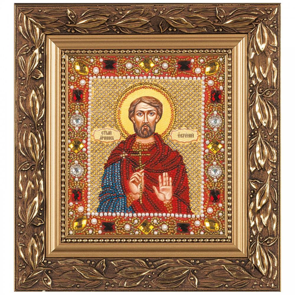 """Набор для вышивки иконы бисером и камнями 15х13см """"Св. Мч. Евгений"""""""