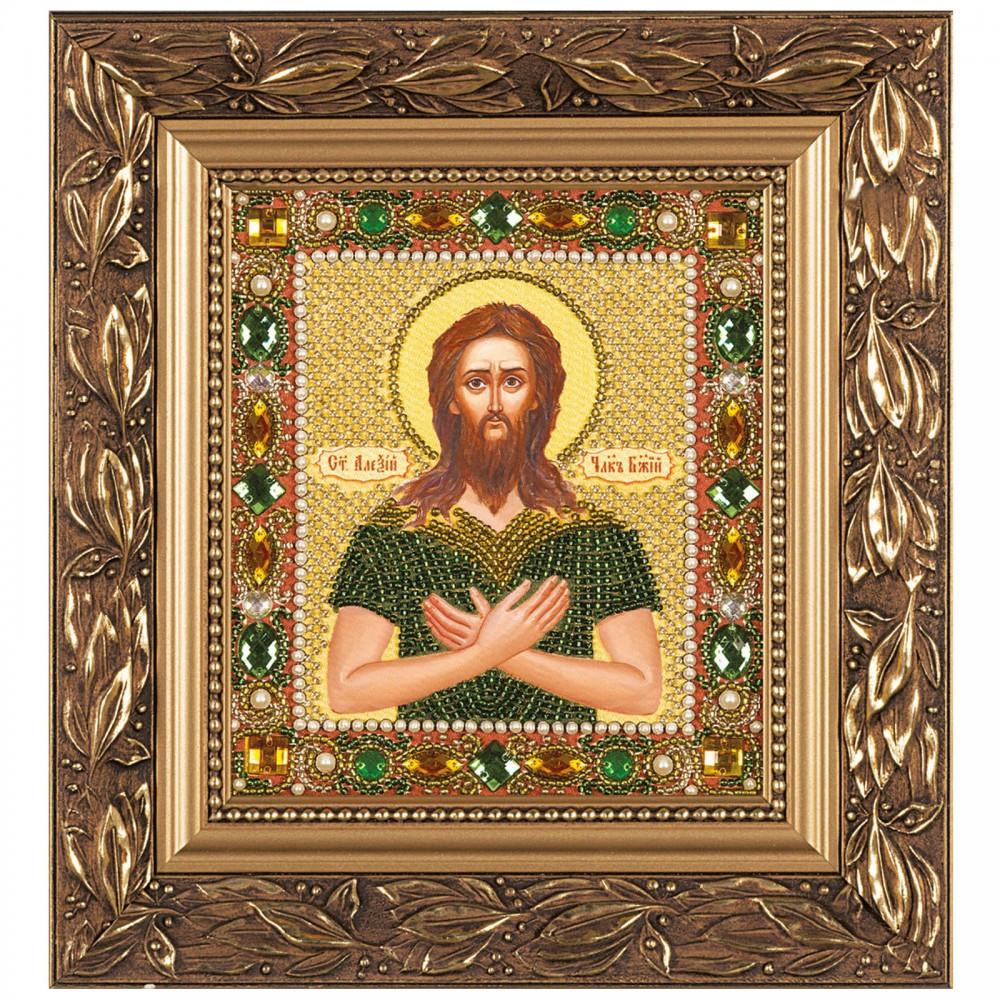 """Набор для вышивки иконы бисером и камнями 15х13см """"Св. Прп. Алексий Человек Божий"""""""